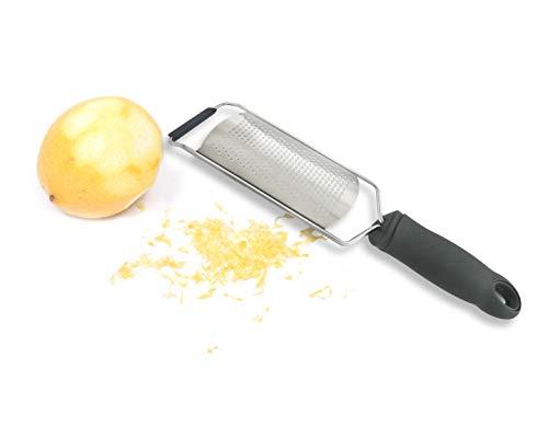 Tolizz Rallador de limón y queso único para queso parmesano, chocolate, jengibre, ajo, nuez moscada + cubierta protectora, silicona, gris oscuro
