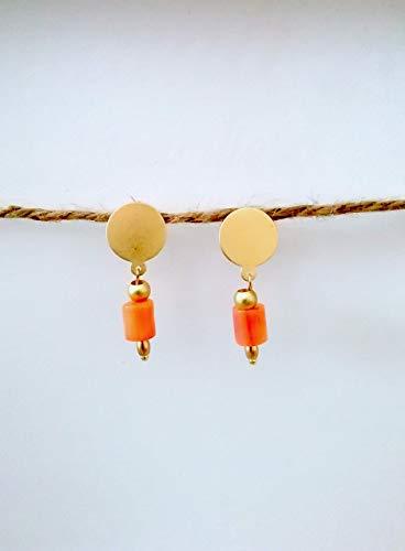 Pendientes cortos coral piedra semipreciosa - Dorado - Oro mate-Rosa - Regalo - Para mujer