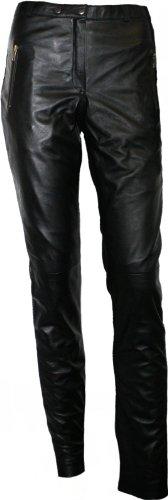 German Wear Damen Lederhose aus Lammnappa Leder Leggings mit Spandex Echtleder Hose schwarz, Größe:S