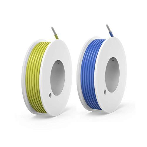 NorthPada 20 AWG 0,5 mm² Elektronik Elektrischer Draht Kit Litzen Silikon Leitungen Draht Verzinntes Kupfer Kabel 2 Farbe 600V 5A 2 x 7 meter Gelb + Blau
