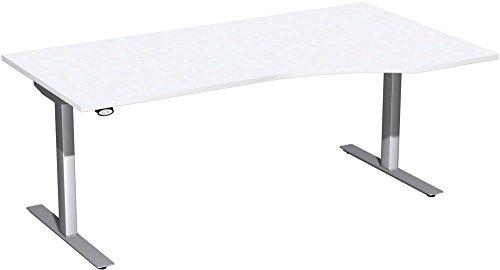 Elektrisch höhenverstellbarer Schreibtisch, rechts, 1800x1000x680-1160, Weiß/Silber, Geramöbel