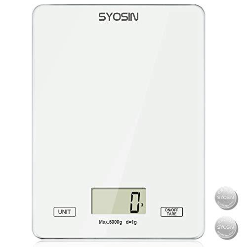 Bilancia da cucina digitale SYOSIN Bilancia da cucina con display LCD con vetro temperato Bilancia da cucina elettrica per cucinare e cuocere da forno Bilancia da cucina precisa da 5 kg / 11 lb