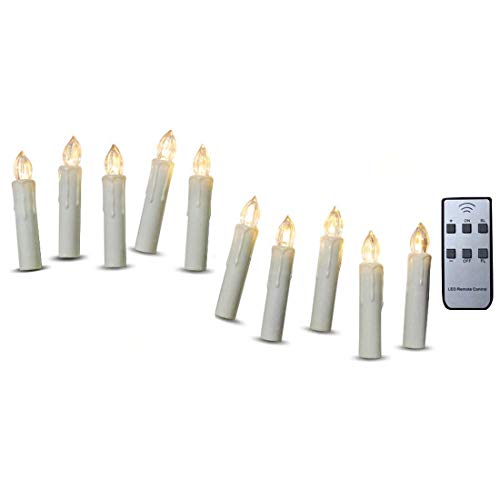 TBW Flameless Ivory Mini Simulated Wax Dipped Flickering Amber LED Taper Candles with Remote and Removable Clips for Baroque Candle Chandelier