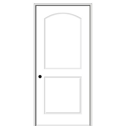 National Door Company ZZ364270R Solid Core, Primed, Molded 2-Panel Archtop, Right Hand, Prehung Interior Door, 20