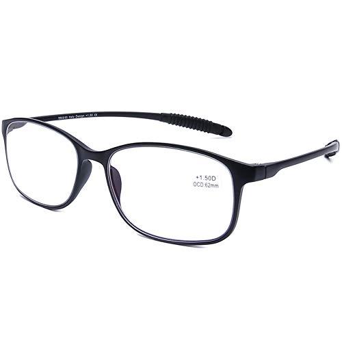 DOOViC Blaulichtfilter Lesebrille Matt Schwarz/Eckig Rahmen Flexible Brille mit Stärke für Damen/Herren/Computer 1,75