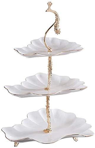 Soporte de pastel, Tres capas de la torta Europea soporte chapado en oro de cerámica a mano tallado de frutas Placa soporte de exhibición adecuados for la fiesta de cumpleaños de la boda (Color: Doble