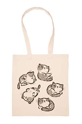 Hopestly Chat Relaxer Pose Sac Achats Réutilisable Les Courses Toile En Coton Tote Reusable Shopping Bag