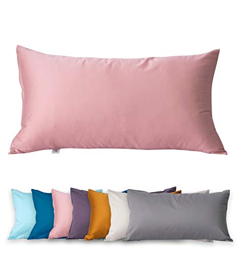 Kissenbezug 40 x 80cm, 400TC 100% Baumwolle, Superweicher Premium Kopfkissenbezug Kissenhülle Ägyptische Extra-Langstapeliger Bettkissenbezug Pillowcase (Mellow Rose, 40 x 80 cm x 1)