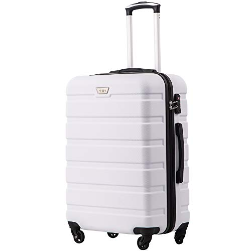 COOLIFE Suitcase Trolley Carry On Hand Cabin Luggage Hard Shell Travel Bag Lightweight 2 Year Warranty Durable 4 Spinner Wheels (White, S(56cm 38L))