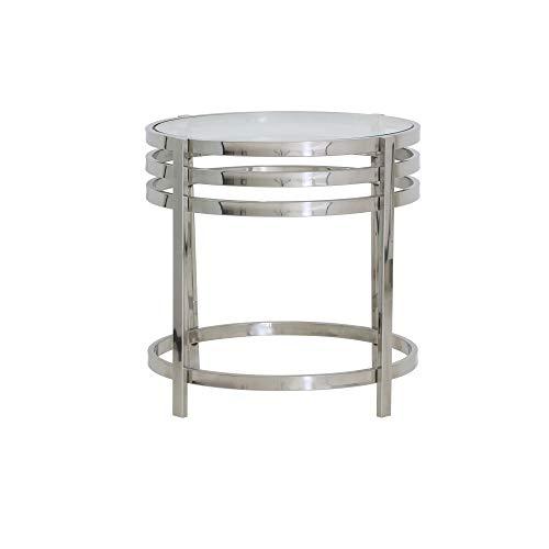Light & Living Design bijzettafel Ø50x50 cm ANGOL glas + nikkel