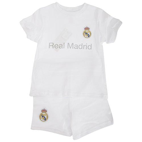 Conjunto oficial de camisetas y pantalones cortos Real Madrid C. F., blanco, 18-23 meses