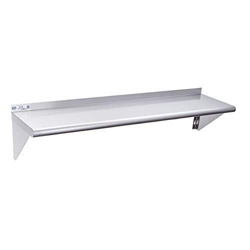 Stainless Steel Shelf 12 x 48 Inches, 280 lb, Commercial NSF Wall Mount Floating Shelving for Restaurant, Kitchen, Home and Hotel