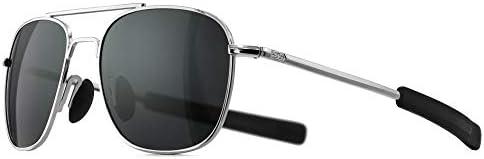 SUNGAIT Men s Military Style Polarized Pilot Aviator Sunglasses Bayonet Temples Silver Frame product image