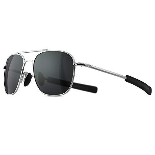 SUNGAIT Gafas de Sol Estilo Militar para Hombre Polarizadas Lentes con Marco de Metal(Plata/gris)-SGT285