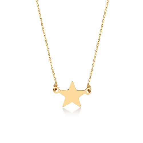 GELIN Collar con colgante de estrella de oro de 14 quilates para mujer, 45,7 cm