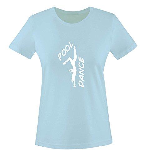 Comedy Shirts - Pool Dance - Figur - Damen T-Shirt - Hellblau/Weiss Gr. XS