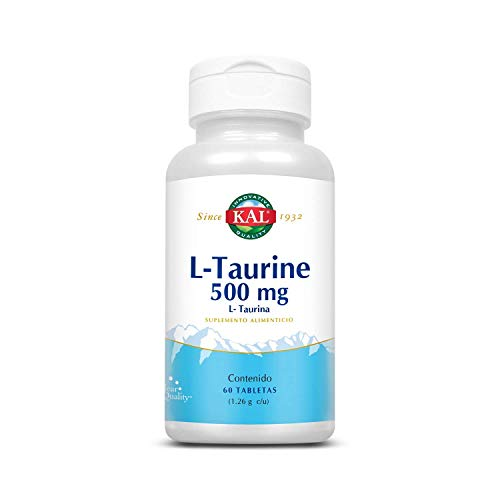 KAL L-Taurine 500 mg (Tabletas de Taurina) suplemento alimenticio vegetal.