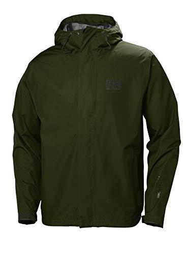 Helly Hansen Men's Seven J Waterproof Windproof Breathable Hooded Rain Coat Jacket, 470 Forest Night, Small