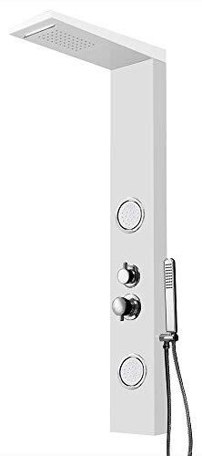 Aluminium Duschpaneel Thermostat Wasserfall Massage Regendusche Weiß Sanlingo