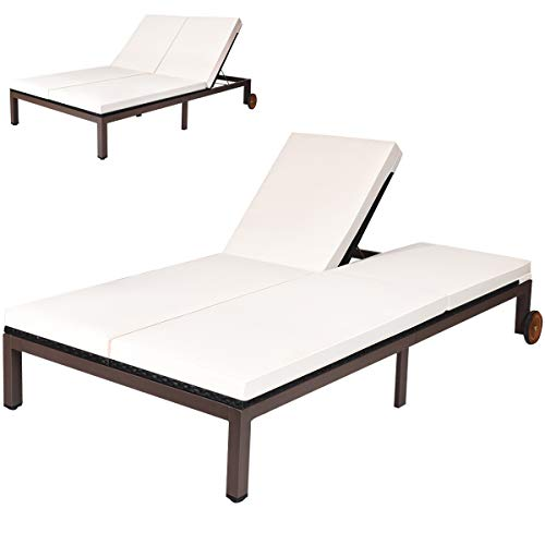 Tangkula 2-Person Patio Lounge Chair, Outdoor Rattan Double Wicker Daybed Chaise Lounge Chair with Adjustable Backrest Wheels & Cushion, Patio Loveseat Sofa for Garden Lawn Backyard (Cream)