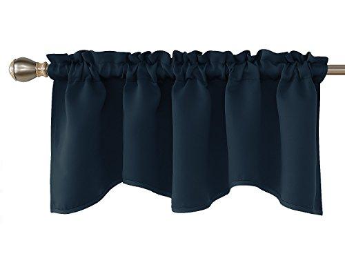 Deconovo Navy Blue Scalloped Valance for Basement Solid Rod Pocket Blackout Valance Curtains 42x18 Inch 1 Panel