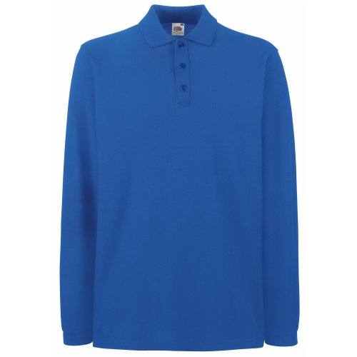Fruit of the Loom - Polo à Manches Longues - Homme (XL) (Bleu Royal)