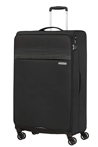 American Tourister Lite Ray Luggage- Suitcase, Spinner XL (81 cm - 105 L), Jet Black