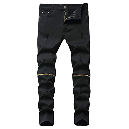 KIERA NIXON Boy's Slim Fit Ripped Distressed Destroyed Skinny Fit Jeans Pants with Zippers Black 14