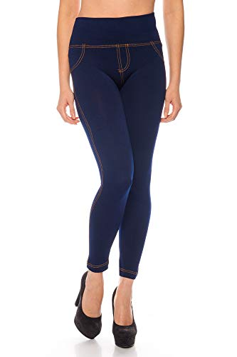Kendindza Damen Thermo-Leggings Jeans-Look gefüttert mit Innen-Fleece Basic Blickdicht, Blau, S/M