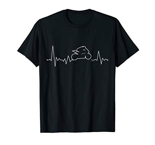 Herzschlag Supersport Motorrad Geschenk Herzlinie Moped T-Shirt