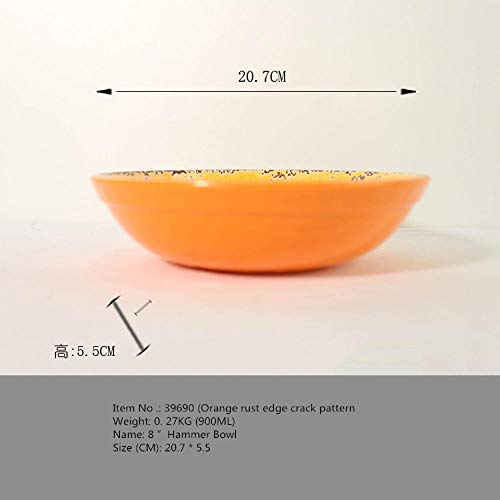 Soepbord van wit porselein, grappig bord, melamine bestek, Steak Western bord, rijstschaal, dikker bord, serviesset 8 inch Crack Figure Bowl Orange (grote schaal)_roestrandscheurafbeelding