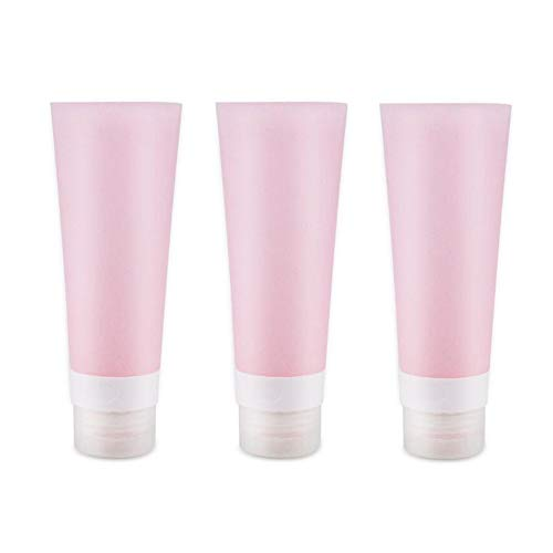 3pcs Pink Portable Leakproof Silicone Bottle - Empty Refillable Soft Squeezable Travel Bottle Containers For Body Lotion Shower Gel Shampoo Face Cleanser Toothpaste With Flip Lid size 80ml