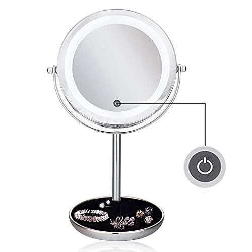 DSADDSD Espejo para maquillarse Espejo para maquillarse DIRIGIÓ Espejo de vanidad con Luces, 5X Ampliación de baño Baño Beauty Mirror, 360 Función giratoria Afeitado Espejo/Tacto