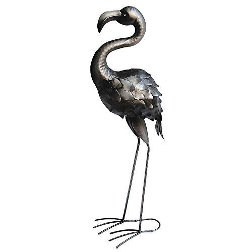 Garten Steh Figur Flamingo Skulptur Garten Beet Dekoration Vogel Statue Silber antik Harms h504028