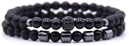 RTUTUR Stone Bracelet Women,7 Chakra Natural Stone Bead Black Onyx Bangle Elastic Yoga Energy Lucky Bracelet Fashion Charm Jewelry For Ladies Christmas Couple Gift