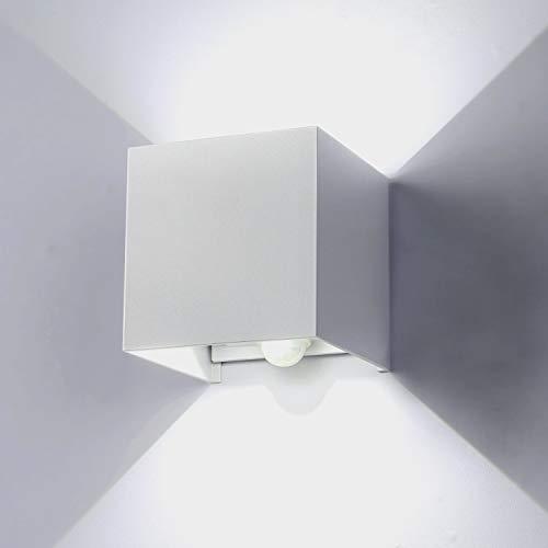 ENCOFT Lámpara de Pared Exteriores Interiores con Sensor de Movimiento Moderno 12W LED Aplique de Pared Ángulo Ajustable IP67 Impermeable en Aluminio Luz Blanco Frio 6000K para Jardín Pasillo