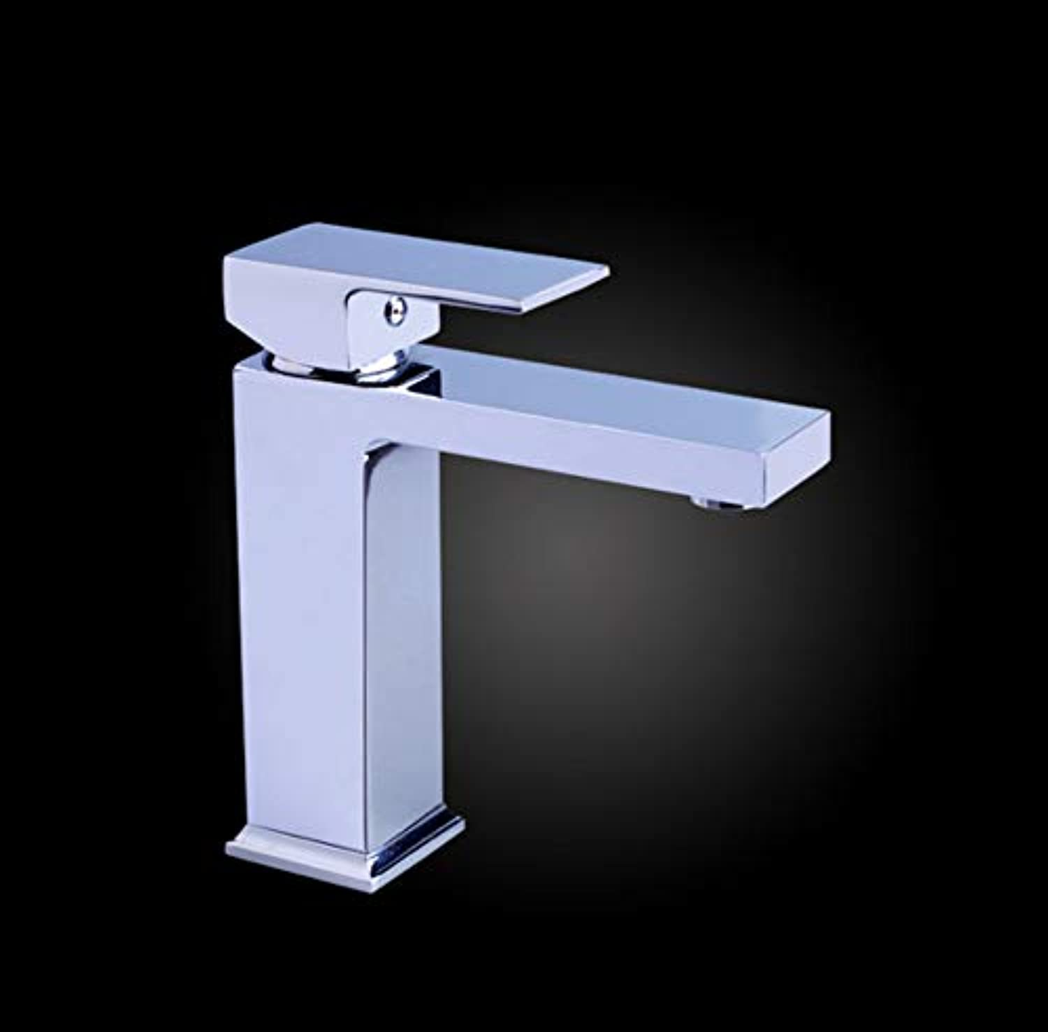 Xiujie Faucet New Home Hotel Basin Faucet Hot and Cold Single Hole Copper Square High-End Faucet 19Cm
