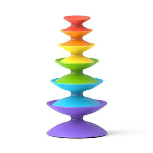 Lubudup Bebé apilable arco iris torres giratoria juguete educativo anillo apilable juguete para bebés de 1 a 3 años