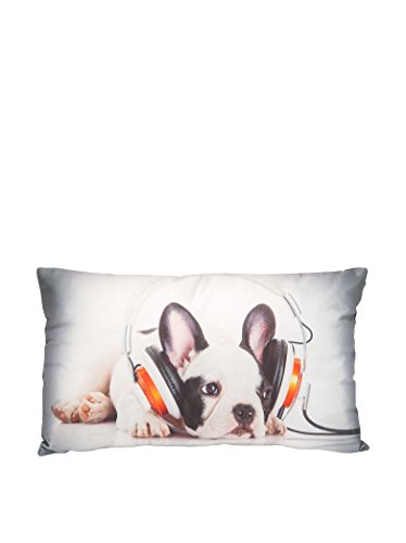 HOME STORIES 09754 Coussin Photoprint Zip Déhoussable Motif Chien Satin/Polyester/Coton Multicolore 30 x 50 cm