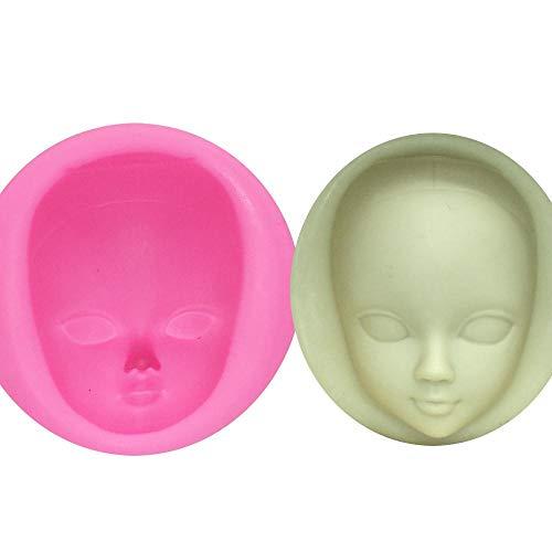 DACCU DIY Fille Face Silicone Moule Fondant Moules De Décoration De Gâteau Outils Femme Masque Gumpaste Moule Argile Polymère Résine Moules