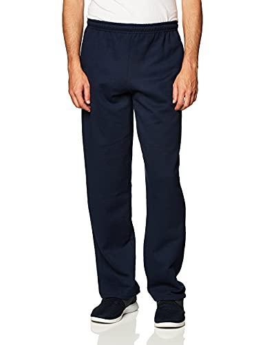 Gildan Men's Fleece Open Bottom Sweatpants with Pockets, Style G18300, Navy, Medium