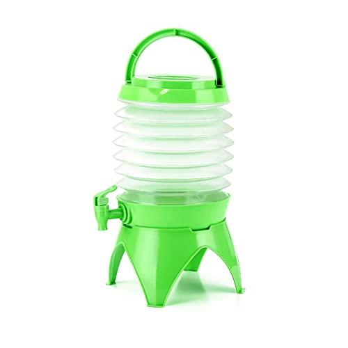 AHURGND Contenedor de Agua de Camping Plegable, contenedor de Agua Plegable, dispensador de Bebidas, con Espiga, para Viajes de Pesca Camping al Aire Libre (Color : Verde)