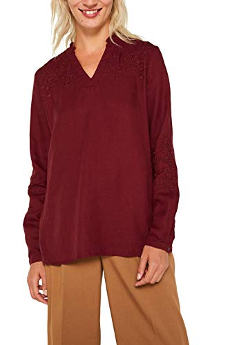 ESPRIT Damen 089Ee1F018 Bluse, Rot (Bordeaux Red 600), (Herstellergröße: 34)