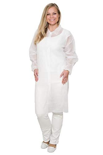 10 x Einwegkittel - Größe XL aus PP-Vlies - mit 4 Druckknöpfen - lebensmitteltauglich - Farbe: Weiß - (Laborkittel, Einwegkittel, Vlieskittel)