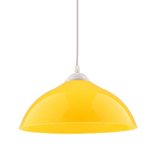Gazechimp Sombra Colgante de Lámpara de Techo Diseño Semicircular Accesorio de Bombillas de Cafetería de Restaurante de Cocina - Amarillo