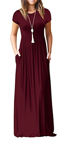 VIISHOW Women Summer Short Sleeve Loose Plain Long Maxi Casual Dress with Pockets (Wine red XX-Large)