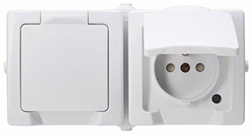 Kopp 137102006 AP-FR Nautic stopcontact met midden-randaarde, 2-voudig met klapdeksel en verhoogde contactbescherming, arctisch wit