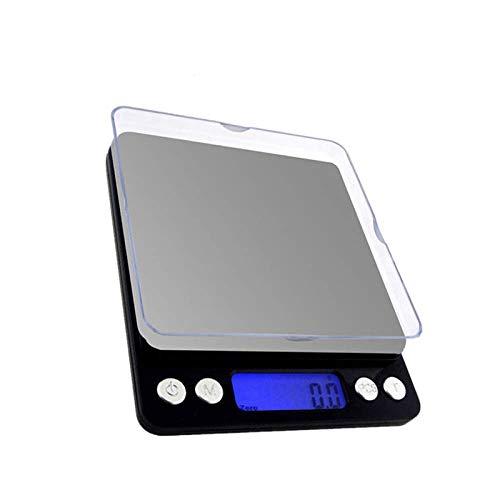 yurunn Báscula de Cocina Digital báscula electrónica Gran Superficie de pesaje iluminación Pantalla LCD Plata inglés 3kg / 0.1g