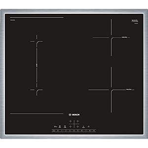Bosch Serie 6 PVS645FB5E hobs Negro, Acero inoxidable Mesa Con – Placa (Negro, Acero inoxidable, Mesa, Con placa de inducción, Vidrio y cerámica, 1400 W, Rectangular)