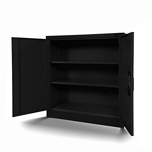 Jan Nowak Kleiner Aktenschrank C001B Büroschrank mit Flügeltüren Metallschrank Lagerschrank Pulverbeschichtet Stahlblech Abschließbar 92,5 cm x 90 cm x 40 cm (H x B x T) (schwarz/schwarz)